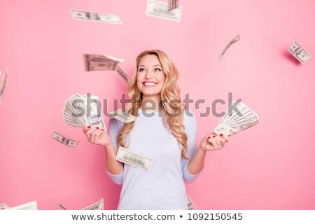 Sarışın saç ayarlamak kafkas kız para Stok fotoğraf © toyotoyo