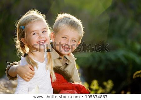Portrait adorable frère soeur ensemble extérieur Photo stock © Lopolo