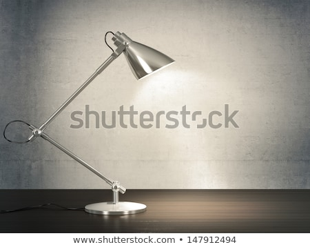 Powered On Black Desk Lamp on Wooden Floor in the Room Stock photo © make