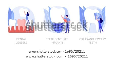 Fogászati vektor metaforák fogak helyreállítás műfogsor Stock fotó © RAStudio