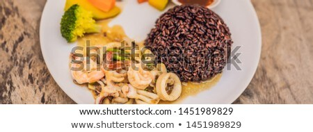 Brown rice, seafood, vegetables. Healthy meal for lunch BANNER, LONG FORMAT Stock photo © galitskaya