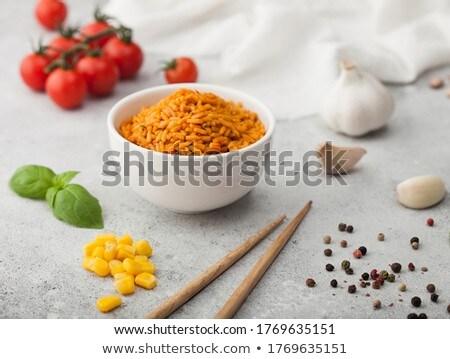 Fehér kerámia tál tányér főtt piros Stock fotó © DenisMArt