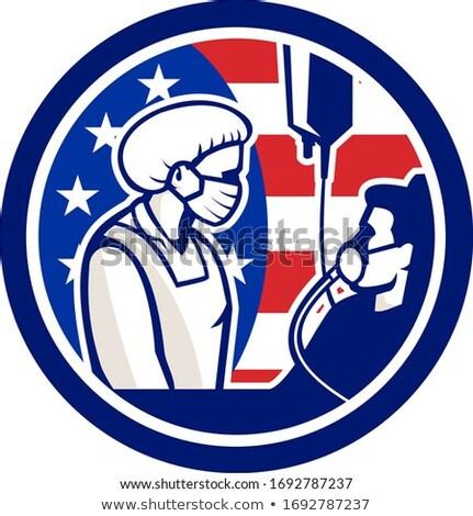 Amerikaanse arts patiënt cirkel retro illustratie Stockfoto © patrimonio