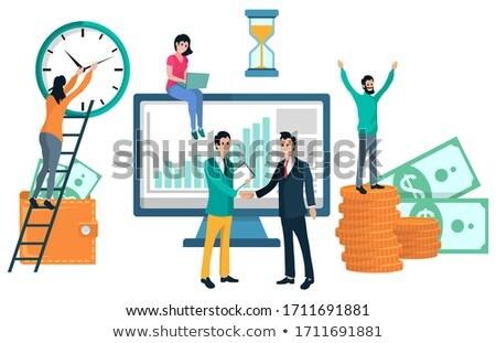 Wallet with Money, Partners Meeting Infochart Stock photo © robuart