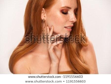 Közelkép lövés pozitív vörös hajú nő nő szeplős Stock fotó © vkstudio