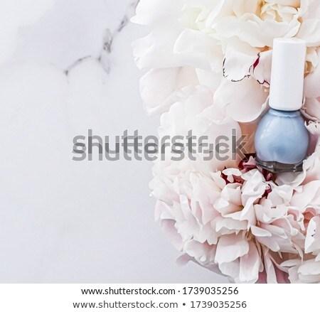 Körömlakk üvegek virágmintás francia manikűr kozmetikai branding Stock fotó © Anneleven