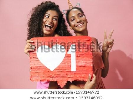 Kép afroamerikai nők tart plakát gesztikulál Stock fotó © deandrobot