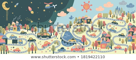 School Bus Riding City, Town with Houses Vector Stock photo © robuart