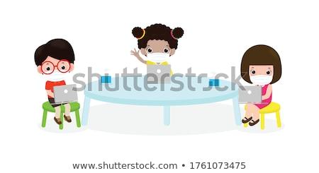 Iskolások osztályterem visel maszk illusztráció gyerekek Stock fotó © artisticco