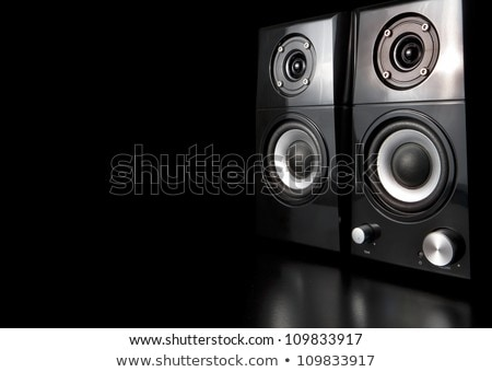 A few speakers on a black background. Stock photo © justinb
