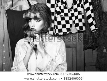 portret · haren · schoonheid · jonge · brunette · vrouw - stockfoto © carlodapino