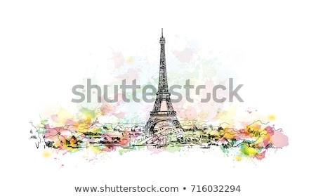 Paris Cityscape Eyfel Kulesi sabah gökyüzü su Stok fotoğraf © AndreyKr