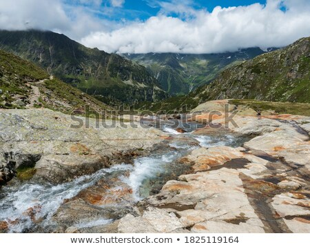 landscape of snow mountains and stream stock photo © bbbar