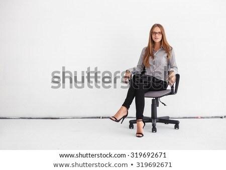 Confiance femme d'affaires séance blanche portrait football Photo stock © wavebreak_media
