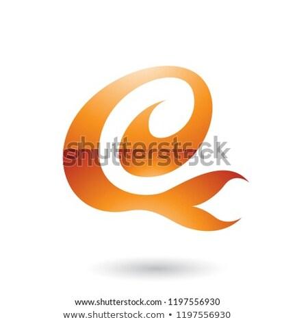 Orange Curvy Fun Letter E Vector Illustration Stock photo © cidepix