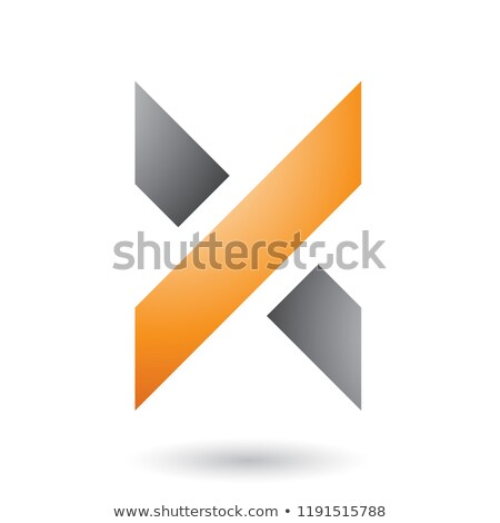 orange and grey thick shaded letter x vector illustration stock photo © cidepix