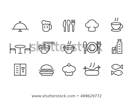 restaurant tables drinks and food isolated icons stock photo © robuart