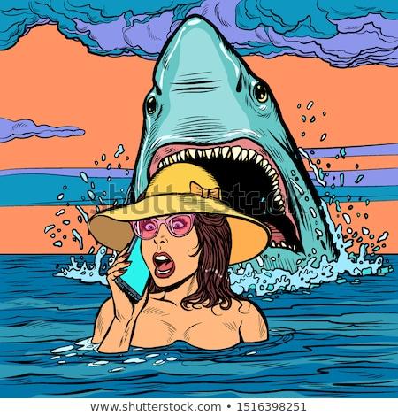 акула женщину морем девушки помочь телефон Сток-фото © studiostoks