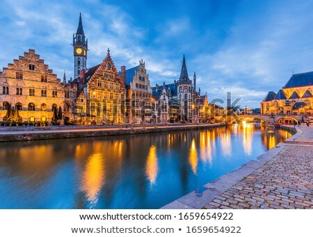 Lys river embankment (Graslei), Ghent, Belgium Stock photo © borisb17