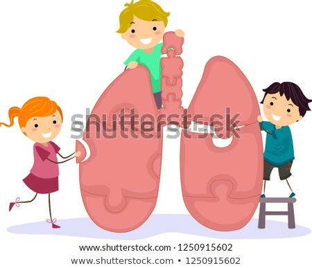 Stickman Kids Lung Puzzle Illustration Stock photo © lenm