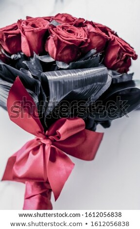 Luxury bouquet of coral roses on marble background, beautiful fl Stock photo © Anneleven