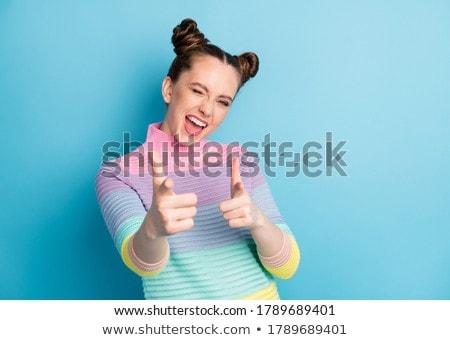 Boldog mosolygó nő csíkos pulóver kacsintás emberek Stock fotó © dolgachov