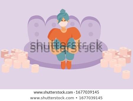 girl on a sofa staying home avoiding COVID19 Stock photo © Giulio_Fornasar