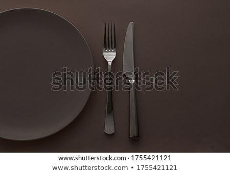 Vazio prato talheres conjunto marrom Foto stock © Anneleven