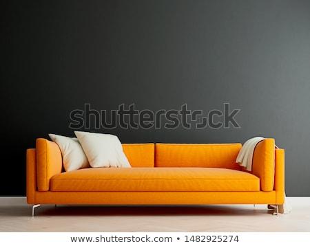 Narancs kanapé belső szoba család fa Stock fotó © Ciklamen