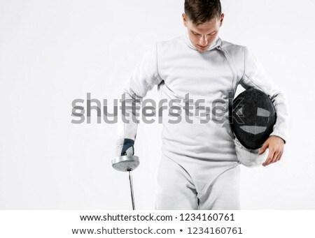 atleta · espada · máscara · gris · velocidad · juego - foto stock © pedromonteiro