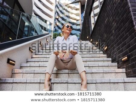 красивой · деловая · женщина · макияж · красная · помада · белый · стороны - Сток-фото © photography33