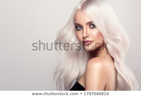 блондинка довольно синий ню пляжное полотенце женщину Сток-фото © disorderly