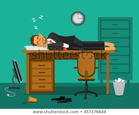 férfi · alszik · munkahely · fáradt · alkalmazott · laptop · billentyűzet - stock fotó © rastudio