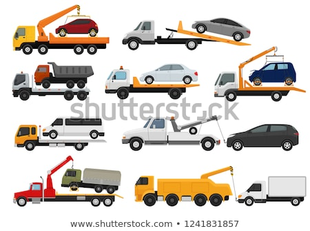 Tow truck and car. Wrecker Evacuates auto. Help on road. Vector  Stock photo © MaryValery
