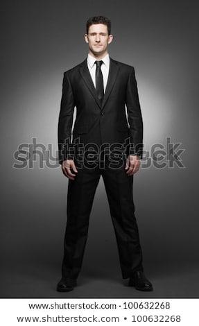 Portret zakenman zwart pak permanente witte hand Stockfoto © feedough