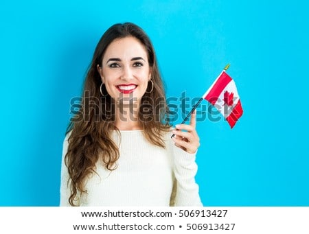 A Canadian Girl Holding Flag Stock photo © colematt