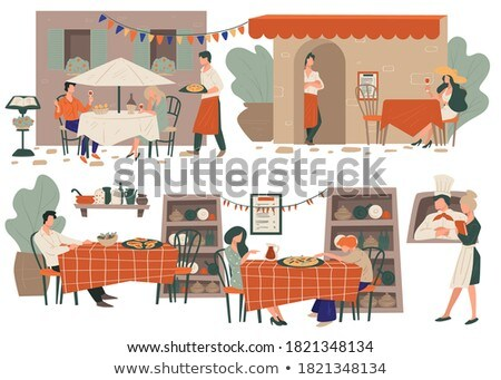 Restaurant Terrasse with Table and Served Food Stock photo © robuart