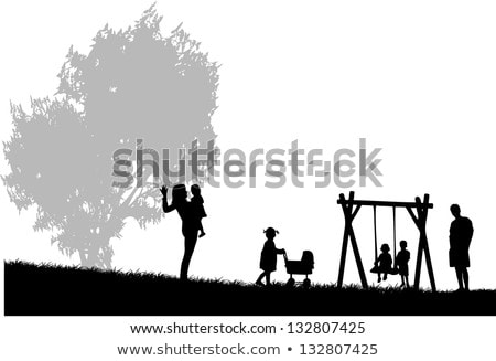 Brother and sister walking in the evening in the garden. The brother carefully covered his sister wi Stock photo © ElenaBatkova