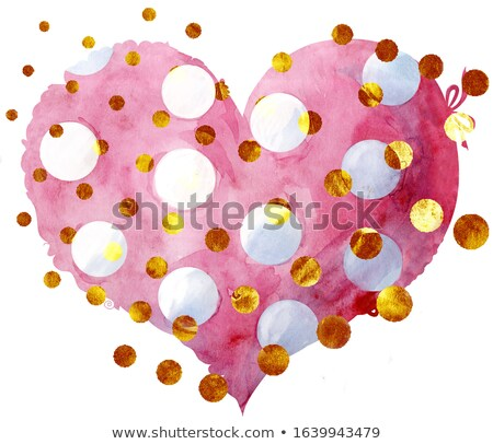 watercolor pink heart with a lace edge and gold dots Stock photo © Natalia_1947