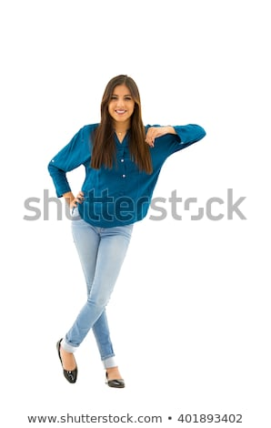 Attractive young brunette woman wearing casual clothes relaxing Stock photo © deandrobot