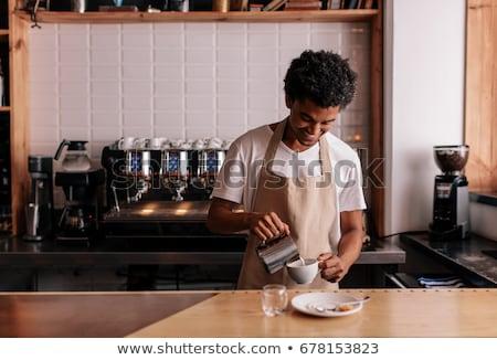 Jonge barista man schort gelukkig portret Stockfoto © yupiramos