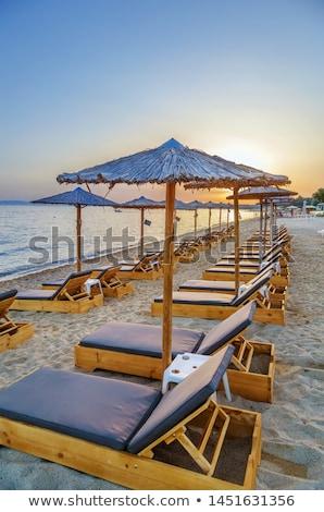 Thatched Umbrellas Chalkidiki Greece Stockfoto © Borisb17