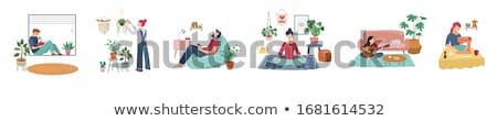Koronavírus tartózkodás otthon emberek ül játék Stock fotó © robuart