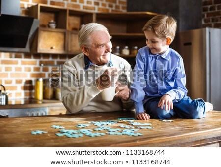 Holunder Mann spielen Tabelle Gesundheit Stock foto © AndreyPopov