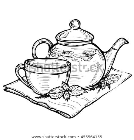 kínai · tea · edény · csészék · fekete · virág - stock fotó © keko64