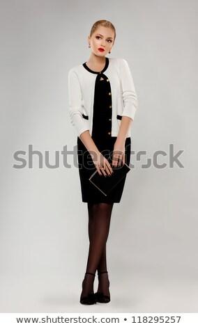 Pretty Young Elegant Schoolgirl With Notebook Standing Zdjęcia stock © Gromovataya