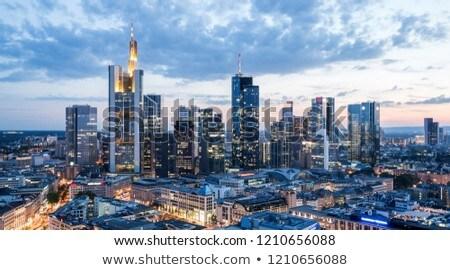 Frankfurt ufuk çizgisi şehir köprü siyah mimari Stok fotoğraf © compuinfoto