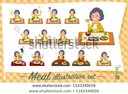 Yellow jacket Middle women_Meal Stock photo © toyotoyo