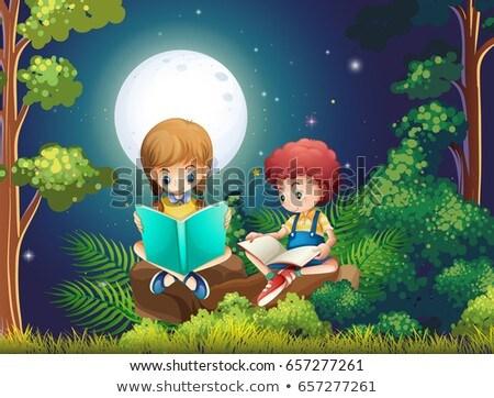 Chłopca dziewczyna czytania książek lesie noc Zdjęcia stock © colematt