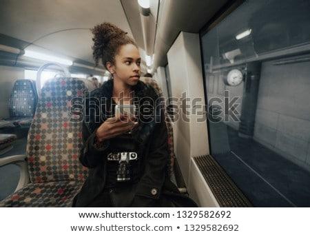 vrouw · wachten · voorstads- · treinstation · drinken · koffie - stockfoto © kzenon